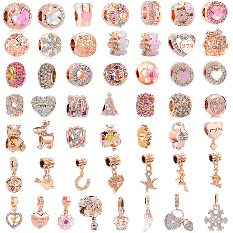 free shipping 50pcs/lot( each design for one) pink rose gold european mixed diy bead fit women pandora charms bracelet M002