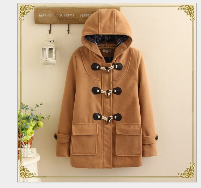 Hooded horn buckle wool coat jacket college winter custom cropped Maternity wear hoodie thick for girl Pregnant woman coatHooded horn buckle wool coat jacket college winter custom cropped Maternity wear hoodie thick for girl Pregnant woman coat