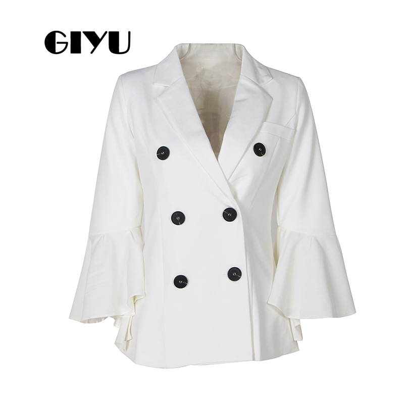 GIYU Autumn Women Flare Sleeve Blazer White Black Jackets Pockets Office Lady Buttons Casual Camiseta Mujer