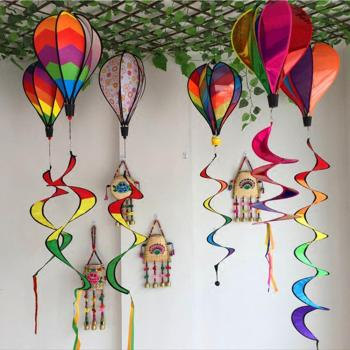 Color Windsock Striped Hot Air Balloon Wind Spinner Yard Garden Decor Decorative Stakes Outdoor Wind Spinners