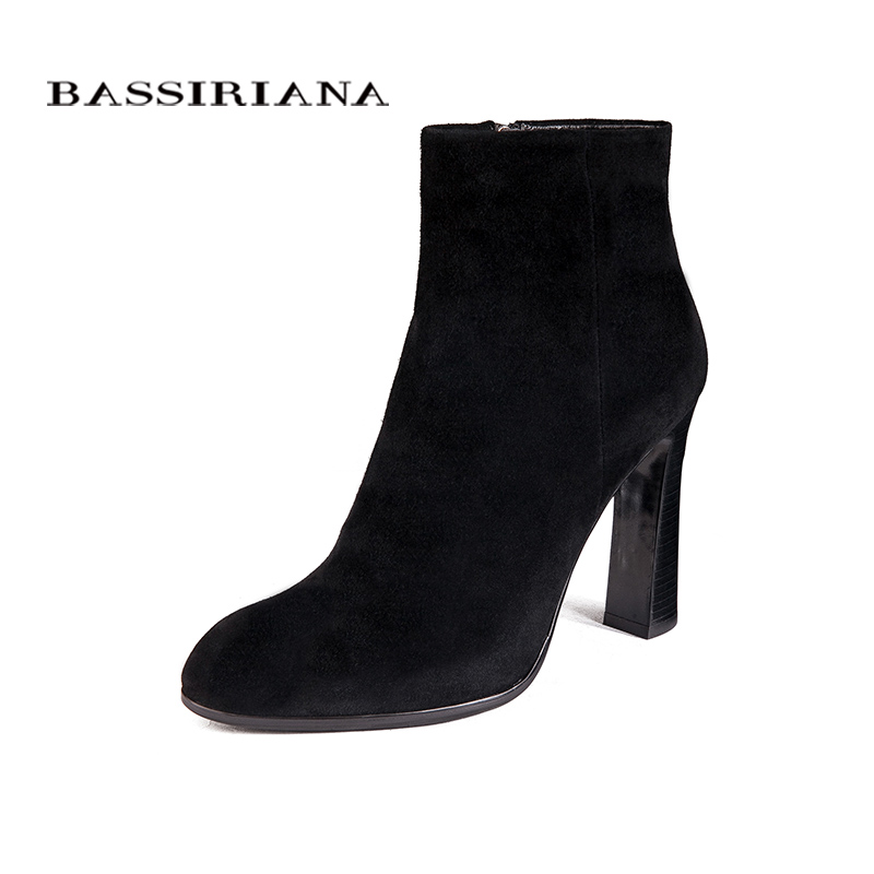BASSIRIANA женские высокие каблуки сапоги Подлинная Полный Натуральной Кожи Большой размер 35-40 Высокое качество марка обуви для женщин бесплатн...