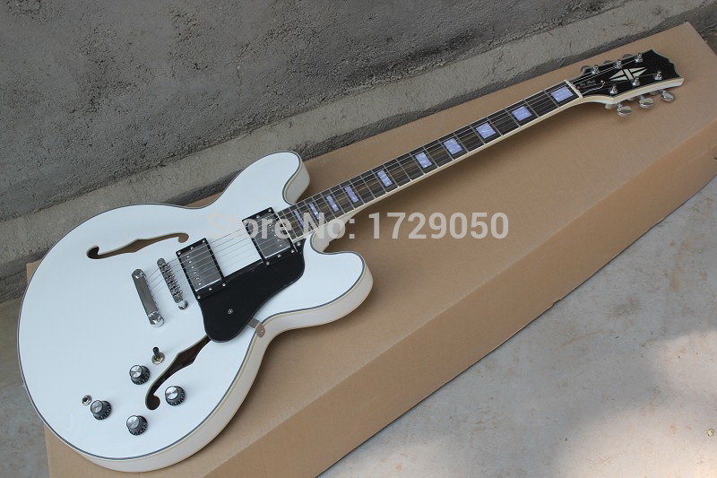 Chinese Factory musical Instruments Custom NEW Semi Hollow body ES335 white JAZZ electric guitar ES 335 new Guitars 424 high quality musical instrument cherry sunburst classical hollow guitar body es jazz guitars china lefty available