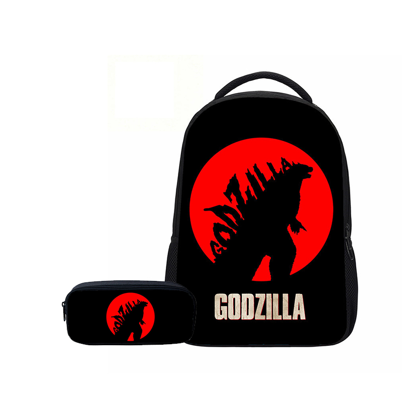 Veevanv Women Fashion 3d Cartoon Bookbags Science Fiction Monster Godzilla Boys School Backpacks Pencil Case Children Gifts