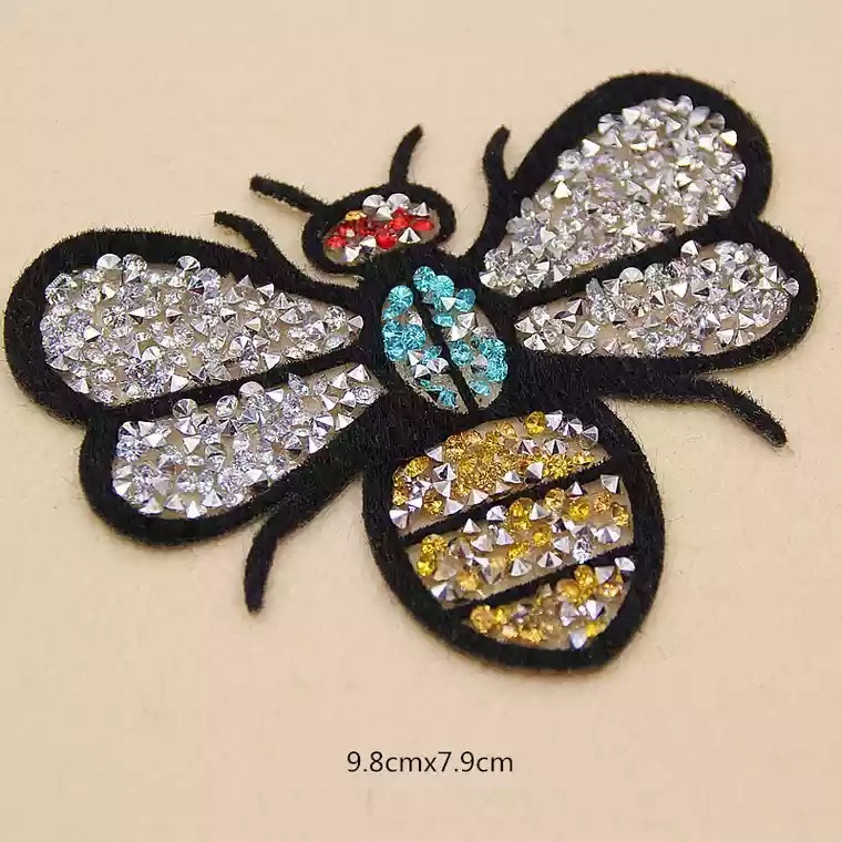 5Pcs/set Rhinestone Bead Bug Patch for Clothing Iron on Beading Applique Clothes Shoes Bags Decoration Bee Patch DIY Apparel ...