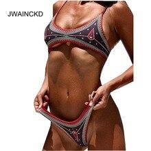Купить с кэшбэком JWAINCKD Bikinis Set Women's Swimsuit Two-Piece Swimwear Low Waist Push Up Swimming Suit Sexy Brazilian Ethnic Biquni Beachwear