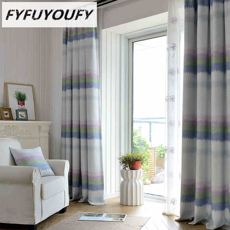 Linen Stripe Kitchen Curtains: Pastoral Striped Cotton Linen Kitchen Blackout Curtains