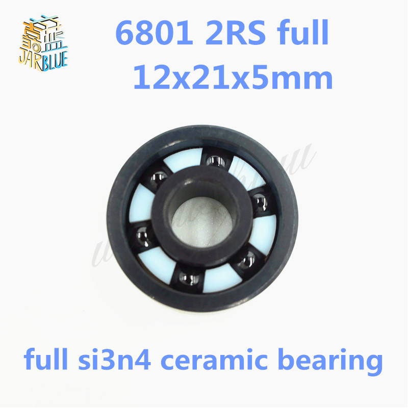 Free shipping 6801 2RS full SI3N4 ceramic deep groove ball bearing 12x21x5mm with seals 61801 2RS bearing 6801rs bearing abec 3 10pcs 12 21 5 mm thin section 6801 2rs ball bearings 61801 rs 6801 2rs with blue sealed l 2112dd