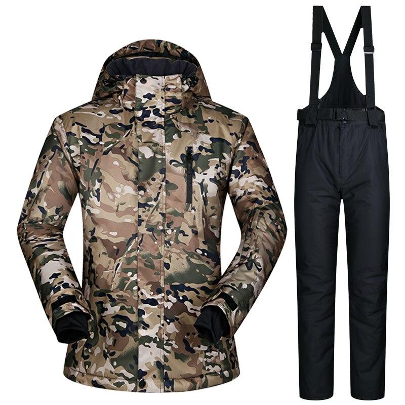 Hiver Ski costume hommes nouveau coupe-vent imperméable à l'eau respirant veste de neige et pantalon mâle Ski Set vêtements marques Snowboard veste hommes