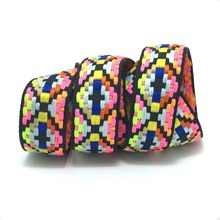NEW 7/8 23mm 10yard/lots 100% polyester color geometry Woven Jacquard Ribbon dog chain accessories KTZD16040102