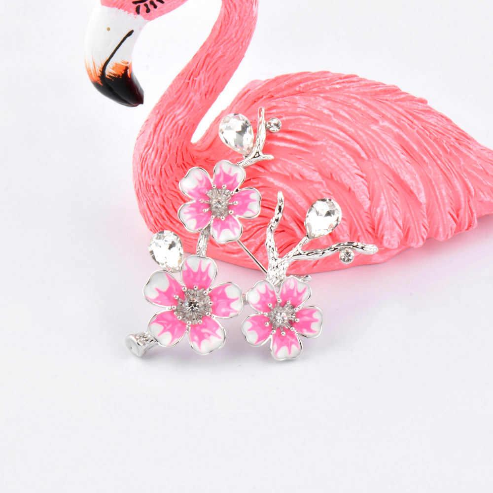 Sinleery Etnis Pink Enamel Bros Wanita Fashion Pernikahan Plum Blossom Bunga Bouquet Perhiasan Aksesoris XZ041 SSD
