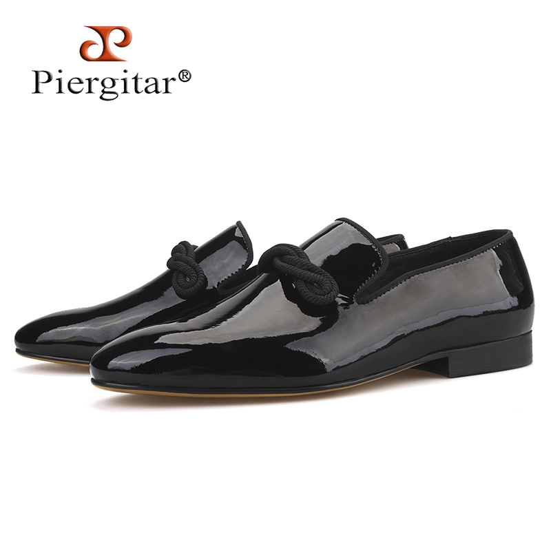 Piergitar 2019 New Black and Navy patent leather men loafers with black string Handmade Party and