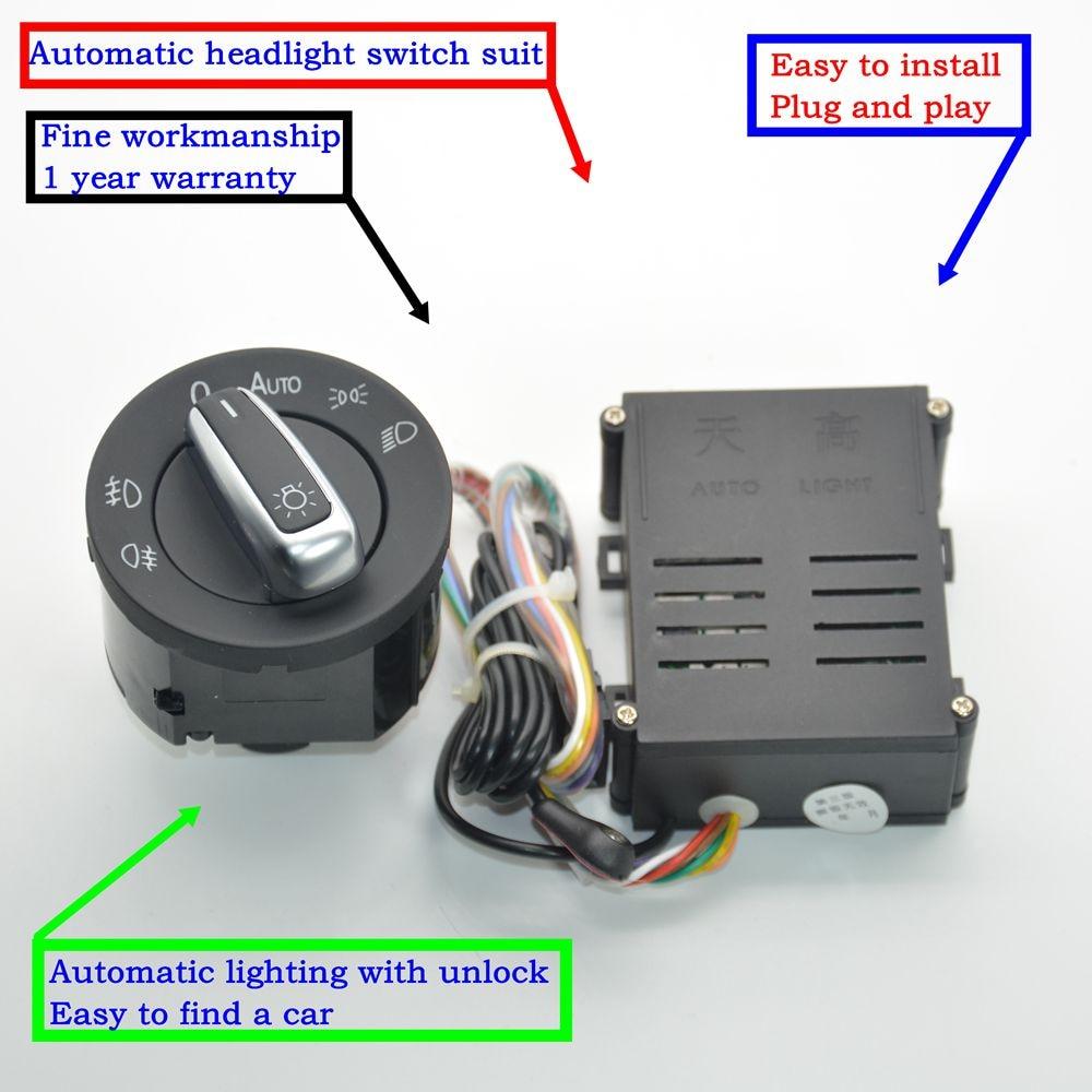 Car lights switch chrome auto sensor light for Passat B5 Lavida Bora Polo Golf 4 new