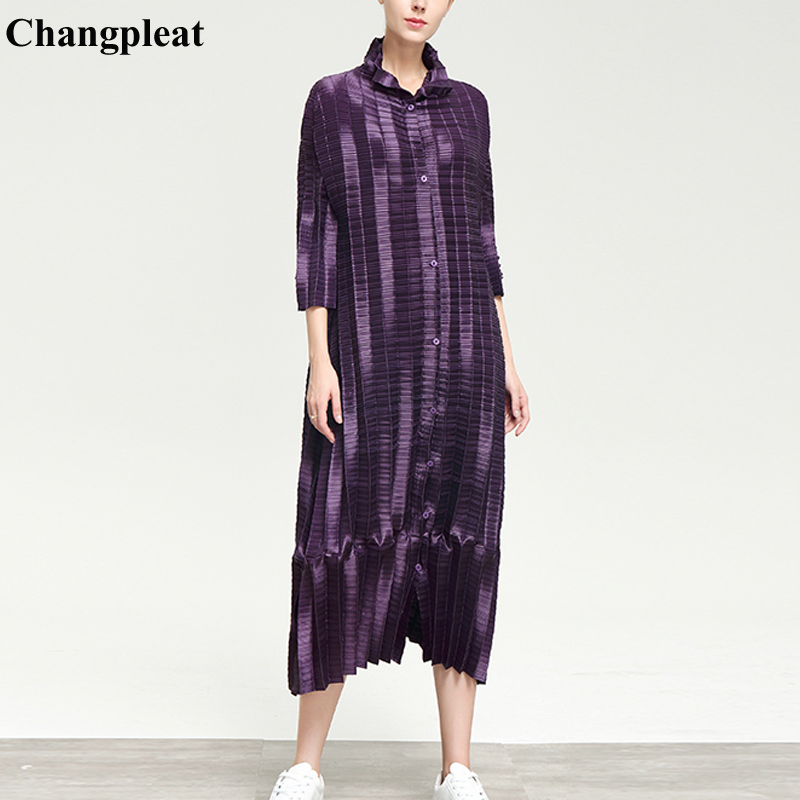 Grande Miyak Femmes Solide Longs Tranchée breasted 2019 Black Taille Single Lâche Changpleat Femme Mode T908 Printemps Nouveau Manteaux Plissée Marée purple IAY7aqpxw