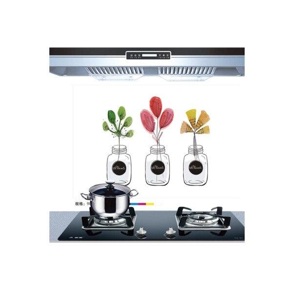Самоклеющиеся обои для кухни из алюминиевой фольги, наклейки для кухонного шкафа, маслостойкие водонепроницаемые Мультяшные наклейки на стену - Цвет: P