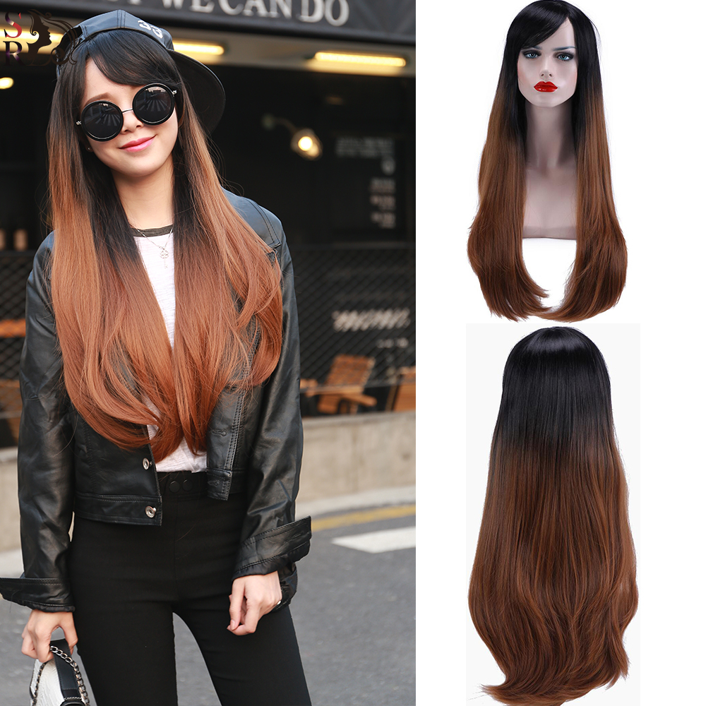 1PC Long Kanekalon Hair Wigs Wavy Curly Curl Free Gift Cap U Part Wig Natural Heat Resistant 2 Tones Synthetic Ombre