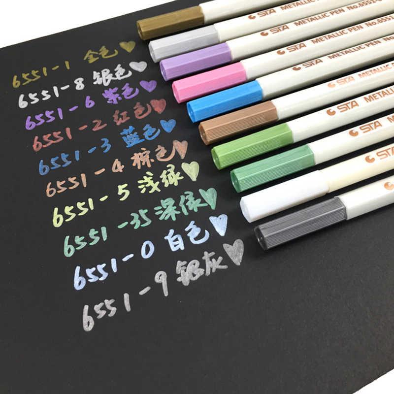 10 colores dibujo arte marcador artística cepillo pluma pincel de Manga Graffiti metálico marcadores de dibujo pintor Oficina escuela suministros