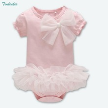 Tonlinker Newborn Baby Girls Short Sleeve Romper Jumpsuit Clothes Infant Bow Knot Tutu Pink Outfits Set 2018 New Summer Costume