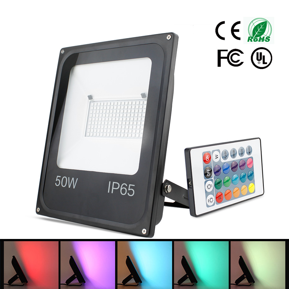 16 Colors RGB LED Floodlight Projector Reflector 20W 30W 50W Waterproof Led Flood Light Outdoor IP65 Garden Holiday Lighting16 Colors RGB LED Floodlight Projector Reflector 20W 30W 50W Waterproof Led Flood Light Outdoor IP65 Garden Holiday Lighting