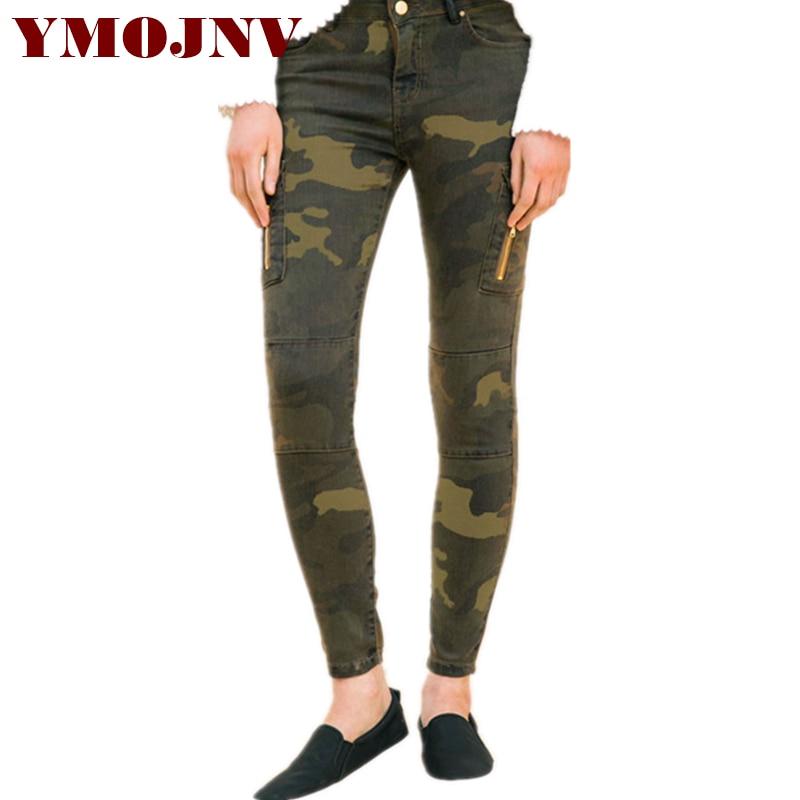 YMOJNV mujeres Skinny Jeans 2018 mujer pantalones vaqueros bolsillos  camuflaje imprimir medio cintura militar Stretch Denim Pantalones femenino dd52a2a6fd27