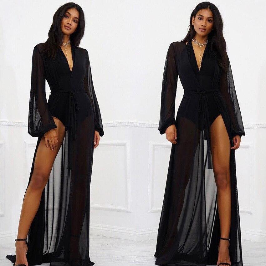 Летняя Сексуальная туника-кафтан, женское шифоновое просвечивающее пляжное платье, Черное длинное облегающее бикини, купальник, купальный костюм