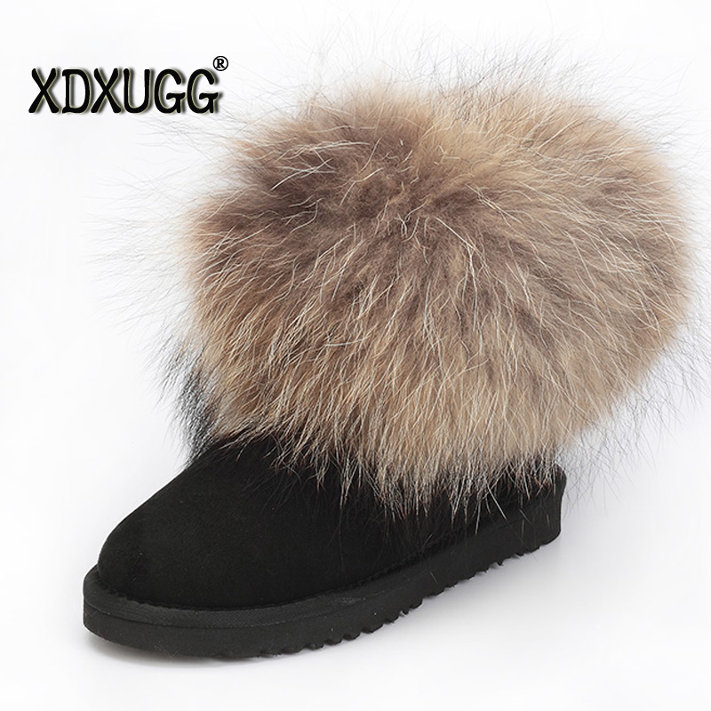 2017 New Australia Natural sheep fur and Fox Wool snow boots female short boots winter flat bottom warm shoes, Free Shipping!