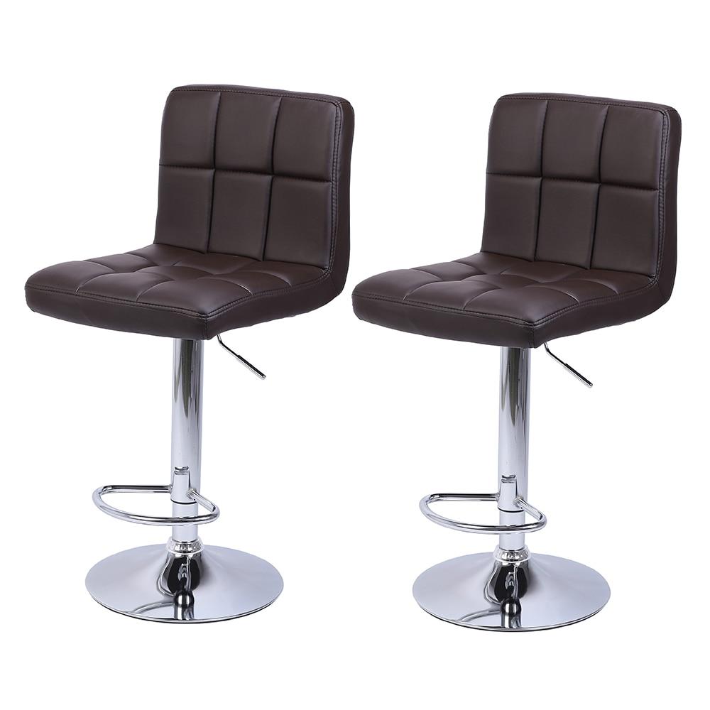 2Pcs Leather Adjustable Bar Stools With Back Counter Height Swivel Stool 60-80cm 6 Checks Round Cushion Bar Stool - US Stock