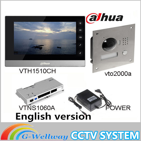Original 7 Inch Touch Screen Brand VTH1510CH Color Monitor with VTO2000A outdoor IP Metal Villa Outdoor Video Intercom sysytem original ahua english version vth1510ch color monitor with vto2000a outdoor ip camera video intercom system with vtob108 box