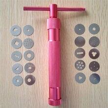Rosa vermelha liga de metal açúcar pasta extrusora arma de artesanato com 20 dicas açúcar ofício fondant bolo escultura ferramenta de argila de polímero perfeito