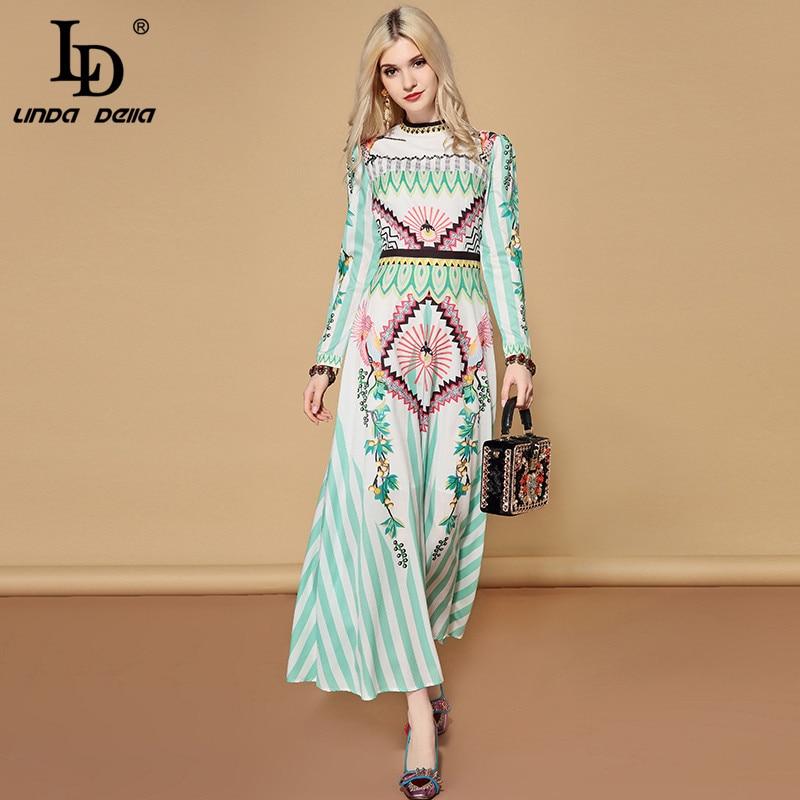 LD LINDA DELLA Chiffon Printed Boho Long Dress 2019131552