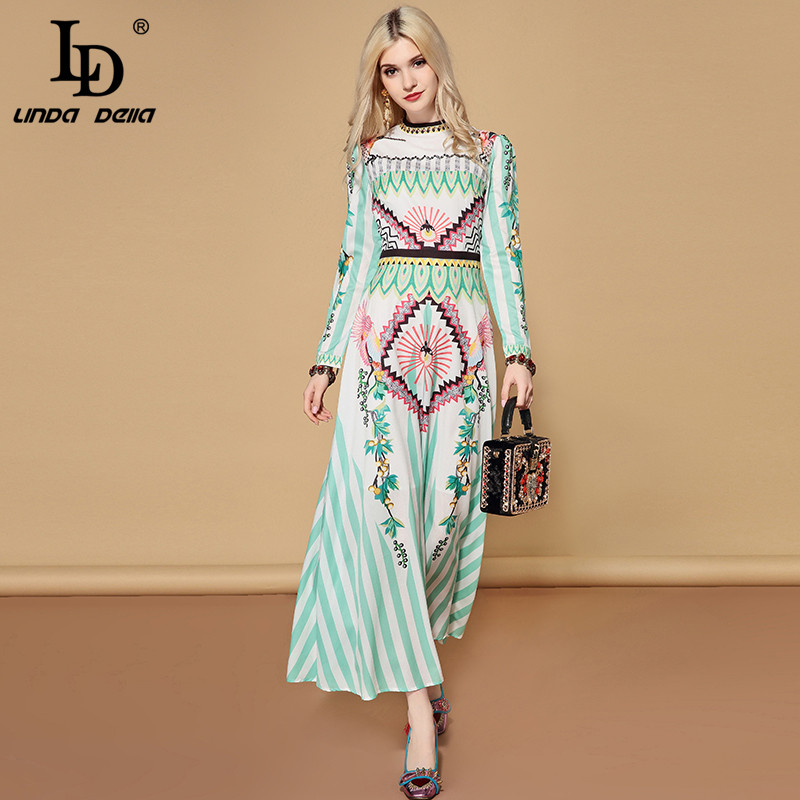 LD LINDA DELLA 2019 wiosna na co dzień wakacje z długim rękawem sukienka w dużym rozmiarze damska urocze szyfonu drukowane wakacje Boho długa sukienka w Suknie od Odzież damska na  Grupa 1