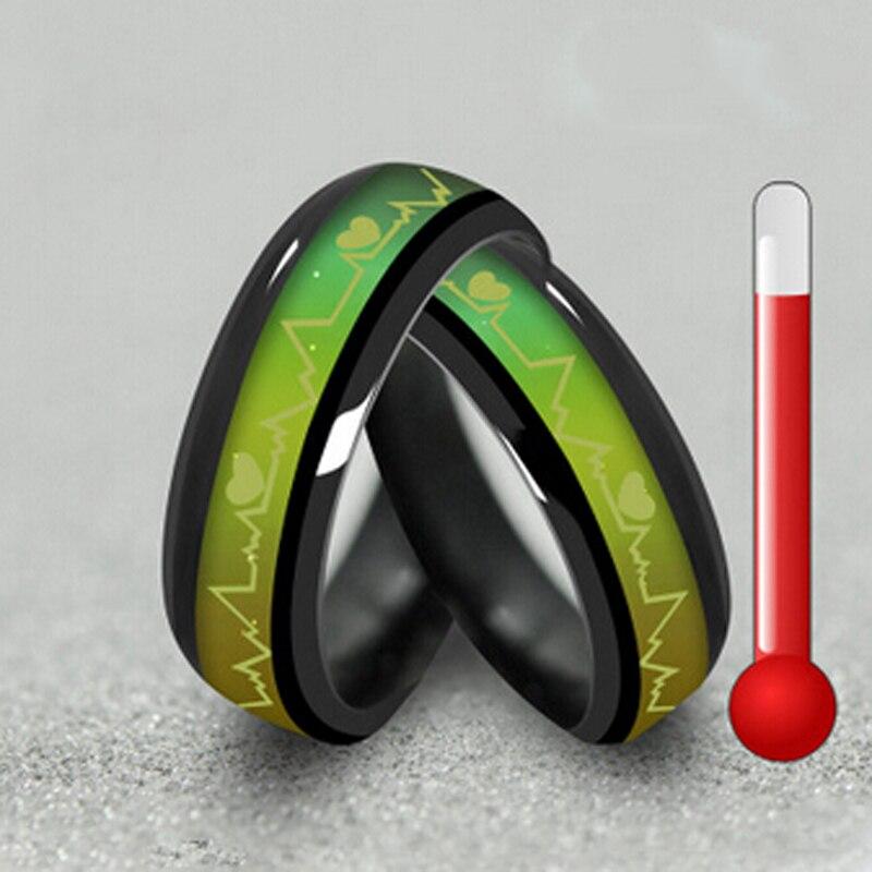 Fashion Titanium Black Mood Anelli Temperatura Emotion Feeling Anelli - Bigiotteria - Fotografia 2