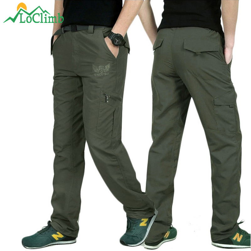 LoClimb Outdoor Quick Dry Hiking Pants Lelaki Summer Mountain Climbing Memancing Trousers Army Trekking Sport Waterproof Pants, AM005