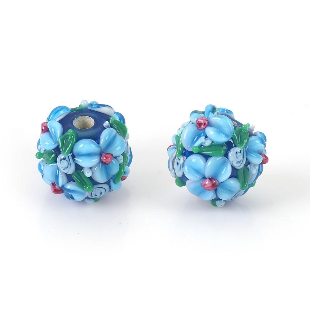 DoreenBeads verre au chalumeau enchâssé Floral perles ronde fleur feuilles environ 13mm (4/8 ) x 13mm (4/8), trou: environ 2.5mm, 1 pièce