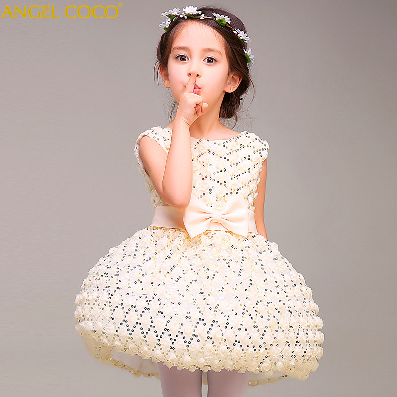 Girl princess dress floral girls dress summer children clothing birthday party baby dress wedding tutu 2-14 Y baby girl clothes 2018 children s clothing new short sleeved girls printed shoulders children princess puff dress baby girl clothes baby