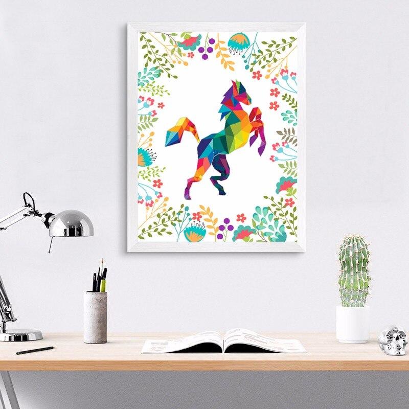 NºCaballo colorido flores pared arte moderno lienzo pintura cuadro ...