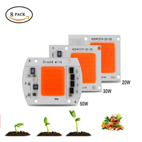 8Pack Ac220v Real Full Spectrum 380 840nm Indoor Instead Sunlight Actual Power 20W 30W 50W DIY Led Grow Light Chip For Plants