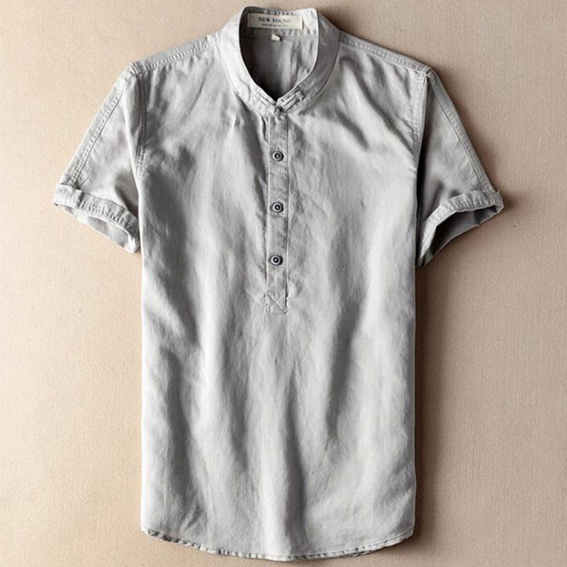 Grey Beige Navy Flax Hemp Male Linen Shirt Men Short