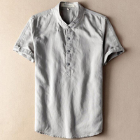 Grey Beige Navy Flax Hemp Male Linen Shirt Men Short Sleeve Traditional Chinese Collar Shirt For Men Plus Size 6XL 7XL 8XL 9XL