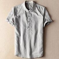 Gris beige Navy Lino de cáñamo Lino camisa hombres manga corta collar tradicional china para los hombres más el tamaño 6XL 7XL 8XL 9XL