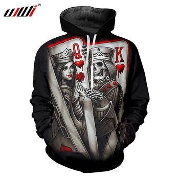 UJWI Skull Hoodies Black Mens Cool Print Queen And King Poker 3D Sweatshirt Hoodie Homme Hip Hop Streetwear Hooded Pullovers