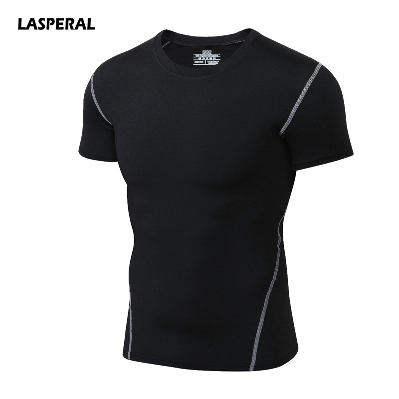 LASPERAL Men Running T-shirts Solid 2017 Quick Dry Short Sleeve Sport Shirts Running Top Fitness Blusas Gym Sportwear Plus Size