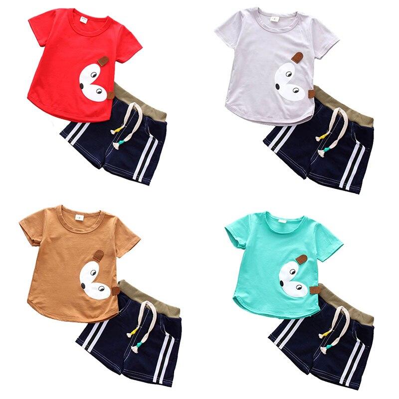Для детей, на лето для маленьких мальчиков футболка с короткими рукавами Топы + короткие штаны Милая одежда с мультяшными рисунками дети Пов...