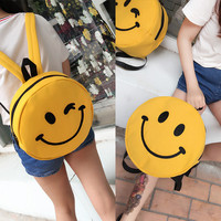 Women Emoji 3D Canvas Backpack Rucksack Schoolbags For Girl Teenagers Casual Smiley Face Funny Travel Bags