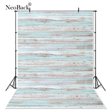 NeoBack 5x7ft Light Pale Blue Wood Wall Floor Photography Background Studio Photo Backdrops Backgrounds P2445