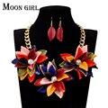 Нигерия свадьбы цветок колье ожерелье 2016 Луна девушка дизайн африканские бусы комплект ювелирных изделий ожерелье и серьги для женщин