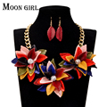Nigeria wedding flower choker necklace 2016 Moon girl design african beads jewelry set  fashion Necklace and earrings for women