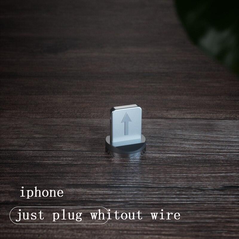 1 м Магнитный зарядный кабель для мобильного телефона, usb type C, светящийся провод для передачи данных для iphone Samaung huawei, светодиодный Micro Kable - Цвет: only iphone plug