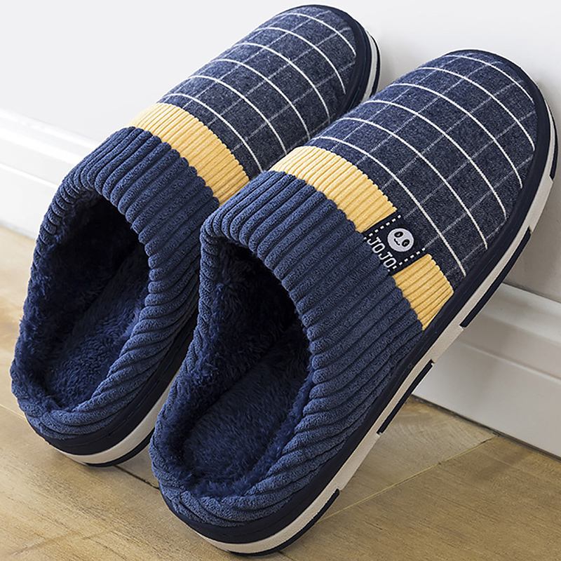 2019 New Warm Men's Slippers Short Plush Flock Home Slippers For Men Hard-wearing Non-slip Sewing Soft Male Shoes