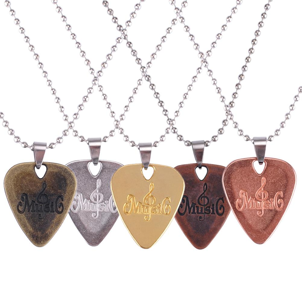 PUNK Zinc Alloy Guitar Picks Guitarra Pick Necklace Gold Silver Rose Gold Bronze Plated Guitar Part Accessories MA-49