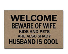Beware Of Wife Kids And Pets Are Also Shady Doormat Non-Slip Machine Washable Outdoor Indoor Entrance Decor Rug Mat